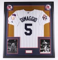 "Joe DiMaggio Signed Yankees 34.5""x38.5"" Custom Framed Jersey Display (JSA LOA)"