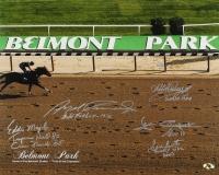 Belmont Park 16x20 Photo Signed by (5) Jockeys Including Laffit Pincay Jr., Jean Cruguet, Angel Cordero Jr. with Multiple Inscriptions (MAB Hologram)