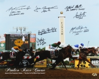 Pimlico Race Course 16x20 Photo Signed by (7) Jockeys Including Stewart Elliot, Jean Cruguet & Angel Cordero Jr. with (8) Inscriptions (MAB Hologram)