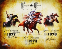 Steve Cauthen, Ron Turcotte & Jean Cruguet Signed 'Triple Crown Glory' 16x20 Photo (MAB Hologram)