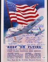 """USAAF """"Keep 'Em Flying"""" 11"""" x 14"""" Poster Print Signed by (17) Veterans with Richard E. Cole, Charles McGee, Abner Aust Jr. with Inscriptions (PSA LOA)"""