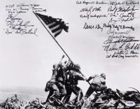 "Raising the Flag on Iwo Jima 11"" x 14"" Photo Signed by (20) Medal of Honor Recipients with Hershel Williams, Bob Kerrey, George Sakato, Walter Marm with Multiple Inscriptions (With 7 Deceased) (PSA LOA)"