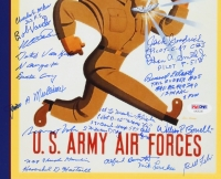"WWII U.S. Airforce 11"" x 14"" Poster Print Signed by (25) Veterans with Dutch Van Krik, Richard E. Cole, Charles Hamlin with Inscriptions (PSA LOA) at PristineAuction.com"