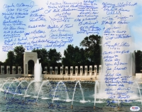 "WWII Memorial 11"" x 14"" Photo Signed by (71) Veterans with Dutch Van Kirk, Hershel Williams, RV Burgin (Aces / Doolittle Raiders / Tuskegee Airmen / D-Day) (Over 15 Deceased) (PSA LOA)"