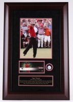 """Tiger Woods 22.5"""" x 33.5"""" Custom Framed Display with Range-Driven Golf Ball & LE Autographed Trading Card (UDA)"""