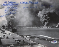 Pearl Harbor 8x10 Photo Signed by (8) with Laren Bruner, Ed Johann, Herb Weatherwax, Dick Laubert (PSA LOA)