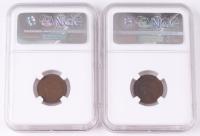 Lot of (2) 1864 & 1865 Civil War Era Indian Head Pennies (NGC Encapsulated)