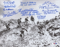 Battle of Iwo Jima 8x10 Photo Signed by (15) with Hershel Williams Gene Iaconetti, Leo Ehli, Robert Galloway (PSA LOA)