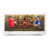 "Wayne Gretzky, Michael Jordan & Tiger Woods Signed Limited Edition ""Icons of Sport"" 24x48 Print (UDA COA)"