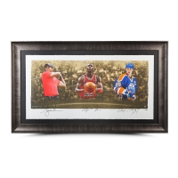 "Wayne Gretzky, Michael Jordan & Tiger Woods Signed LE ""Icons of Sport"" 34x57 Custom Framed Print (UDA COA) at PristineAuction.com"