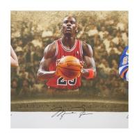 "Wayne Gretzky, Michael Jordan & Tiger Woods Signed LE ""Icons of Sport"" 34"" x 57"" Custom Framed Print Display (UDA COA) at PristineAuction.com"
