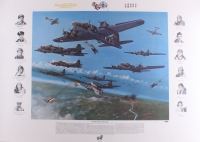 "WWII The Memphis Belle 36"" x 25.5"" Lithograph Signed by (12) with Margaret Polk, Robert Hanson, Robert Morgan, Peggy Evans (PSA LOA)"