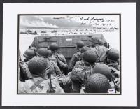 "WWII Omaha Beach 18"" x 14"" Custom Matted Photo Signed by (5) Survivors with Huston Riley, Richard Biehl, Frank LaPuma with Inscriptions (PSA LOA)"