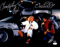 Michael J Fox & Christopher Lloyd Dual Signed Back To The Future With Delorean Time Machine 11x14 Photo at PristineAuction.com