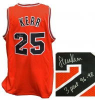 Steve Kerr Signed Red Custom Basketball Jersey w/3 Peat 96-98 at PristineAuction.com