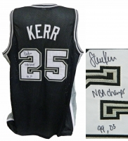 Steve Kerr Signed Black Custom Basketball Jersey w/NBA Champs 99, 03 at PristineAuction.com