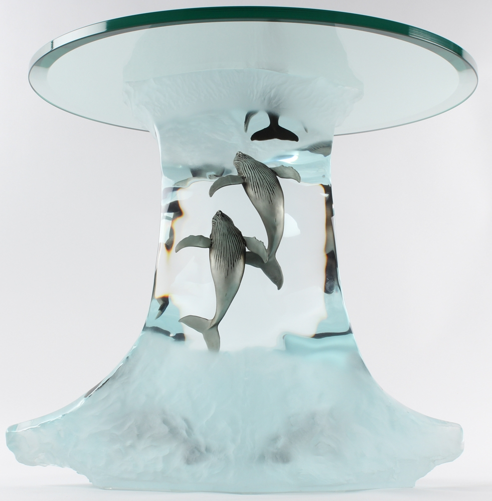 Wyland Humpback Wave Lucite Table Sculpture #AP (Artist Proof) At  PristineAuction.com