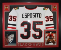 "Tony Esposito Signed Blackhawks 35"" x 43"" Custom Framed Jersey Inscribed ""HOF 1988"" (JSA COA)"