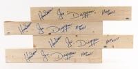 """Lot of (4) Jim """"Hacksaw"""" Duggan Signed 2x4 Wood Pieces Inscribed """"HOF 2011"""" (Schwartz COA)"""