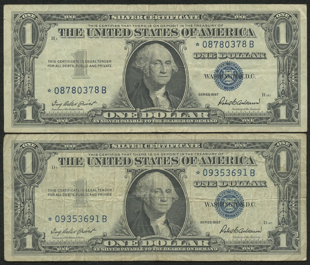 Lot Of (2) 1957 Star Note $1 One-Dollar Blue Seal Silver