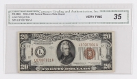 "1934-A $20 Twenty-Dollar Hawaii ""Emergency Note"" Brown Seal Federal Reserve Note (CGA 35 - Very Fine - Fr. 2305)"