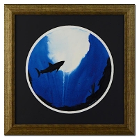 """Wyland """"Shark"""" Signed Original Watercolor on 19"""" Round Deckle-Edge Paper (Custom Framed to 30.5"""" x 30.5"""")"""