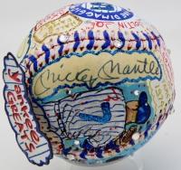 Mickey Mantle & Joe DiMaggio Signed Charles Fazzino Custom Hand-Painted 3D Art Baseball with Swarovski Crystals (JSA LOA)