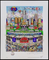Charles Fazzino Signed LE Chicago Cubs World Series Champions Custom Hand-Painted 9x12 3D Pop Artwork on Museum Board with Swarovski Crystals (Museum Editions COA)