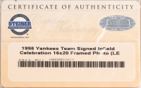 """1998 Yankees World Series Champions LE 25"""" x 32"""" Custom Framed Photo Display Team-Signed by (24) With Darryl Strawberry, Derek Jeter (Steiner COA) at PristineAuction.com"""