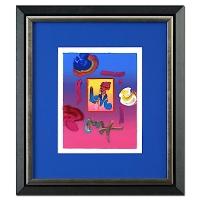 "Peter Max ""Love"" Signed 8.5"" x 11"" Original Acrylic Mixed Media Painting 1/1 (Custom Framed to 19.5"" x 22"") (Max LOA)"