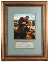 "Vince Lombardi Signed 21"" x 27"" Custom Framed Check Display (JSA ALOA)"