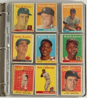 1958 Topps Complete Set of (494) Baseball Cards with #1 Ted Williams, #5 Willie Mays, #30 Hank Aaron, #47 Roger Maris RC, #52A Roberto Clemente, #150 Mickey Mantle