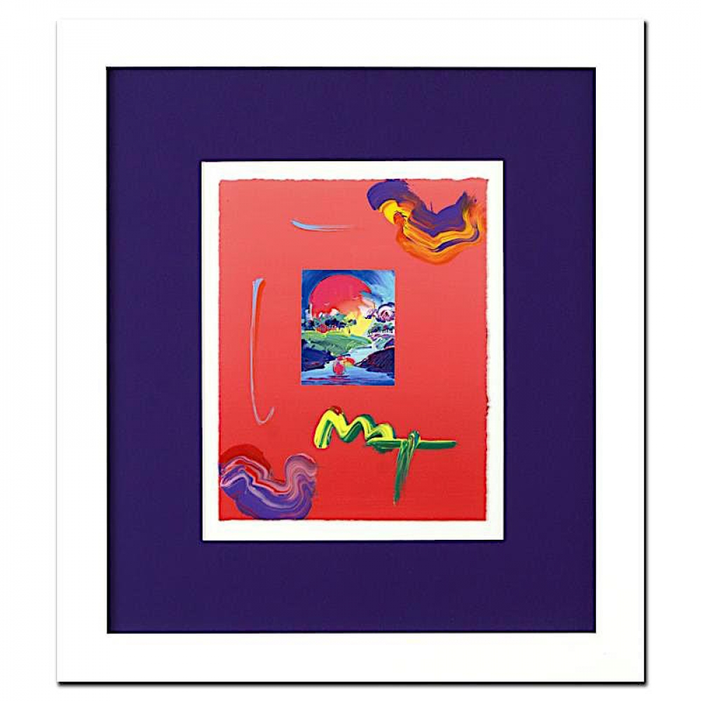 peter max without borders signed 85 x 11 original acrylic mixed media