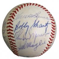 1970 Yankees Baseball Team-Signed by (16) with Thurman Munson, Yogi Berra, Enos Slaughter, Eddie Mathews, Hank Bauer (JSA LOA)