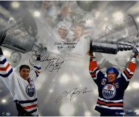 """Wayne Gretzky & Mark Messier Signed LE Oilers Stanley Cup 16x24 Photo Inscribed """"Oilers Teammates 79/80 - 87/88"""" (AP out of 11) (UDA COA)"""