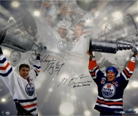"Wayne Gretzky & Mark Messier Signed LE Oilers Stanley Cup 16x24 Photo Inscribed ""4X Stanley Cup Champs"" & ""84 Conn Smythe"" (AP out of 11) (UDA COA)"