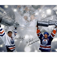 """Wayne Gretzky & Mark Messier Signed LE Oilers Stanley Cup 16x24 Photo Inscribed """"4 Stanley Cup Together"""" #/99 (UDA COA)"""