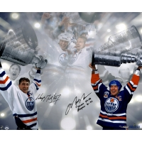 """Wayne Gretzky & Mark Messier Signed LE Oilers Stanley Cup 16x24 Photo Inscribed """"Oilers 79-88, Rangers 96-97"""" #/99 (UDA COA)"""