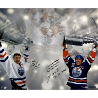 """Wayne Gretzky & Mark Messier Signed LE Oilers Stanley Cup 16x24 Photo Inscribed """"Great Things Happen When You Play with the Great One"""" & """"4x SC Champ"""" #11/99 (UDA COA)"""
