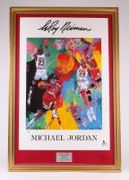 "LeRoy Neiman Signed ""Michael Jordan"" 29"" x 43"" Custom Framed Print Display (PSA COA)"