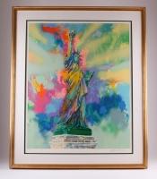 "LeRoy Neiman Signed ""Lady Liberty"" Authentic Original LE 38"" x 30.5"" Custom Framed Serigraph Display (COA)"