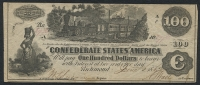 1862 $100 One Hundred Dollars Confederate States of America Richmond CSA Bank Note Bill (T-40) at PristineAuction.com