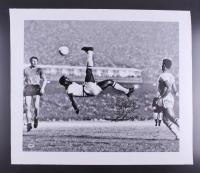"Pele Signed Brazil 29"" x 24"" Bicycle Kick Photo on Canvas Inscribed ""3x W.C. Champ"" (PSA COA)"