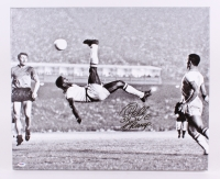 "Pele Signed Brazil 25"" x 20"" Bicycle Kick Photo on Canvas Inscribed ""3x W.C. Champ"" (PSA Hologram)"
