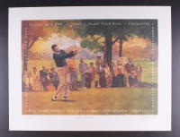 """Byron Nelson Signed """"Eleven in a Row"""" 23.5"""" x 30.5"""" Bart Forbes AP Lithograph (JSA COA)"""
