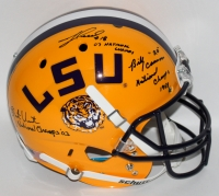 Billy Cannon, Jacob Hester & Justin Vincent Signed LSU Tigers Full-Size Helmet With National Championship Year Inscriptions (Radtke COA)