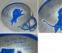 Barry Sanders Signed Lions Riddell Throwback Full-Size Replica Helmet w/7 Inscriptions at PristineAuction.com