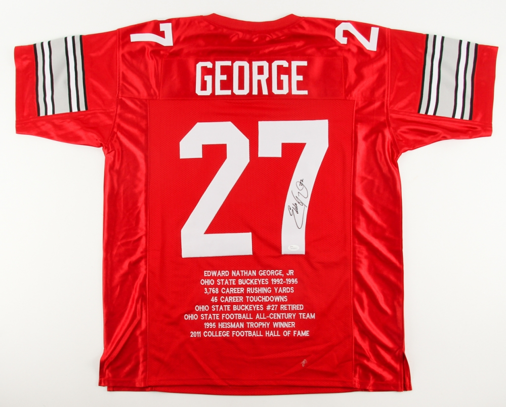 4886096729f Eddie George Signed Ohio State Buckeyes College Highlight Stat Jersey (JSA  COA) at PristineAuction