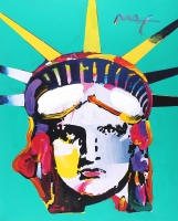 "Peter Max ""Liberty Head"" Signed 24"" x 36"" Original Acrylic Mixed Media Painting (1/1)"