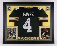 """Brett Favre Signed Packers 35x43 Custom Framed Jersey Inscribed """"'95, '96, '97 MVP"""" (Favre Hologram)"""